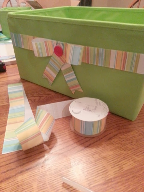 Cute storage solution: decorate a plain bin for a guided reading bin