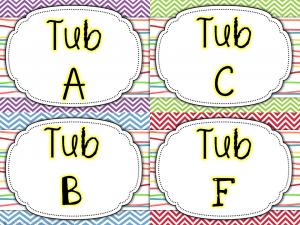 math tub center bin labels