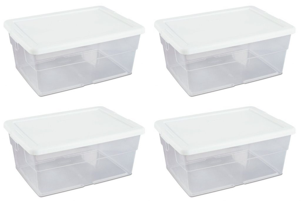 clear plastic 15 L storage containers are perfect for math center tubs