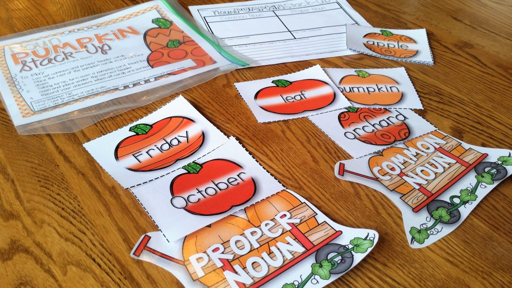 Pumpkin nouns sorting game for proper and common nouns