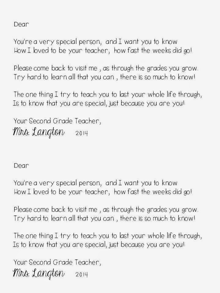 End of year letter to students editable