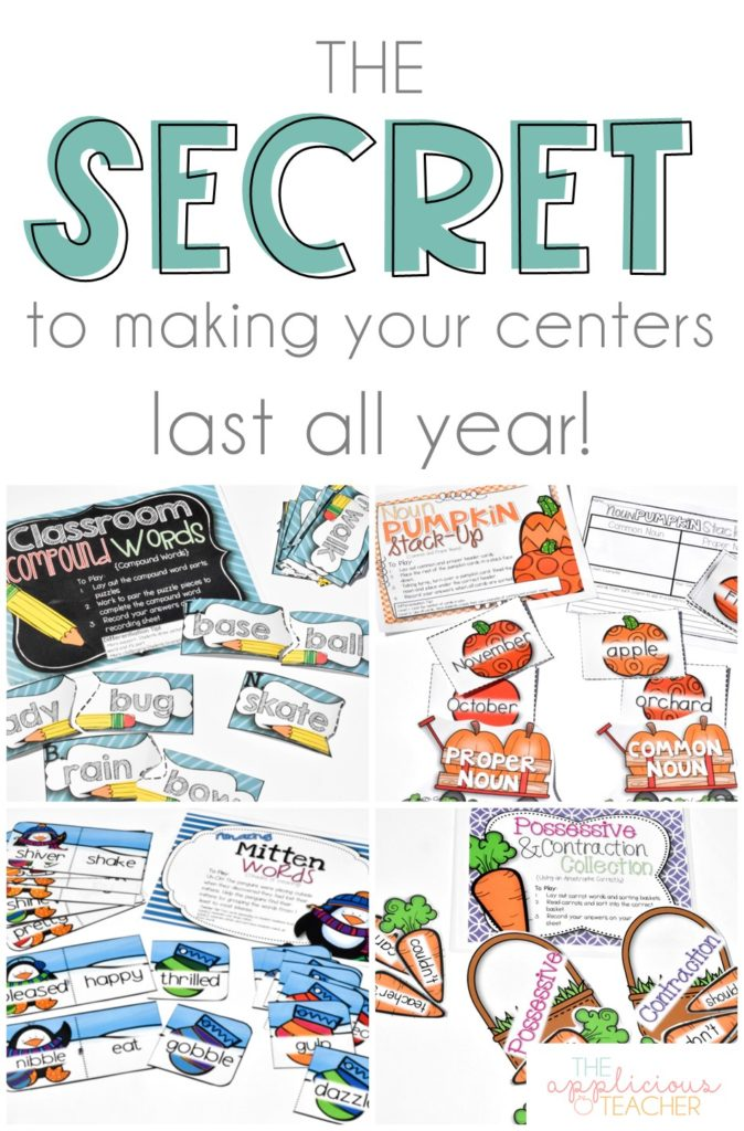 The secret to making your center activities last all year long! Read about how I work to make my center activities last from the beginning of the year to the end! TheAppliciousTeacher.com