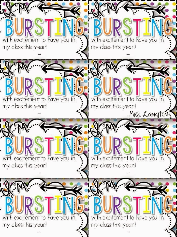 bursting student gift tags for meet the teacher