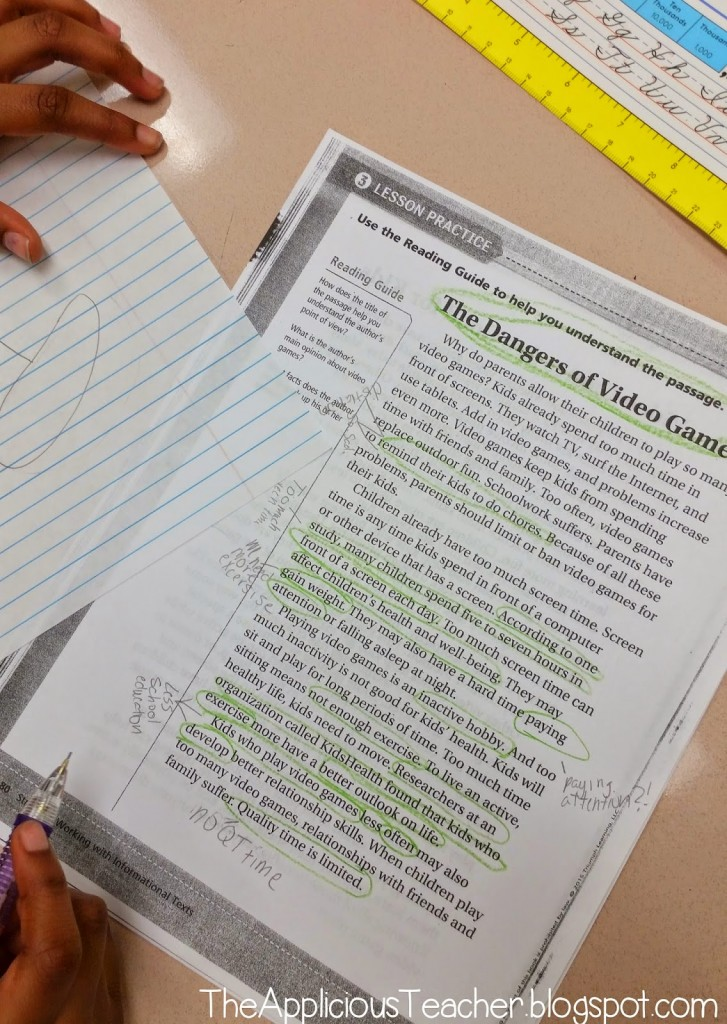 using notes in responding to text