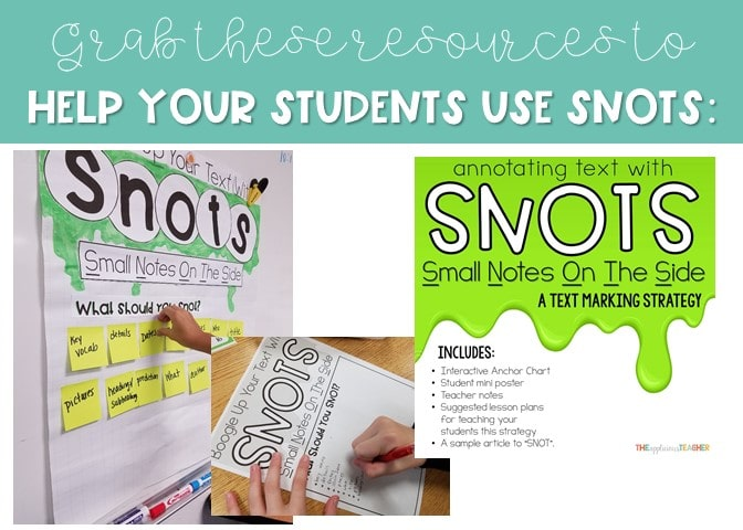 Teaching students how to SNOT on text