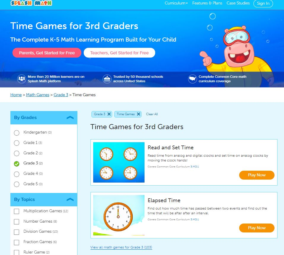 elapsed time games online through splashmath- theappliciousteacher.com