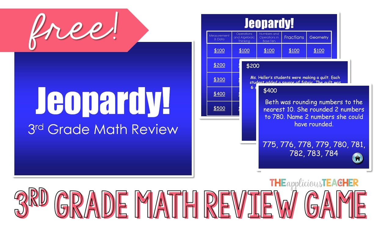 3rd Grade Math Review Jeopardy PowerPoint FREEBIE - The Applicious ...