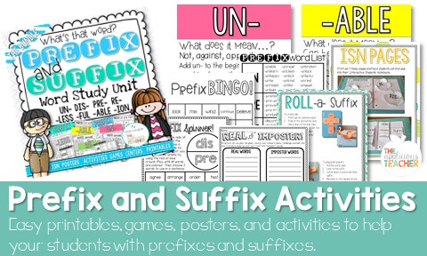 prefix and suffix worksheets posters activities