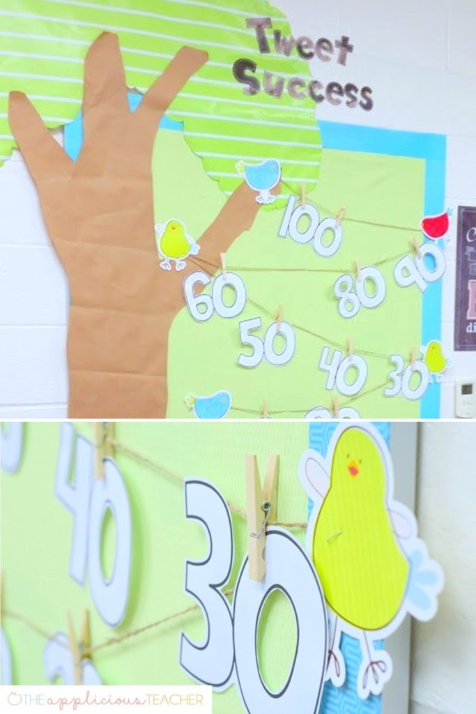 Cute idea for keeping track of student progress through Reading counts, Accelerated Reader, or math facts- students write their names on the numbers as they read that benchmark- Free download TheAppliciousTeacher.com #classroom #awardboard #bulletinboard