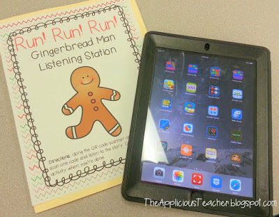 gingerbread man listening center with QR codes