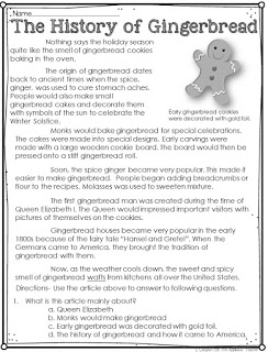 An article about The history of Gingerbread- great informational text for a gingerbread man unit!