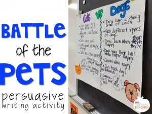 Battle of the Pets- persuasive writing for emergent writers.