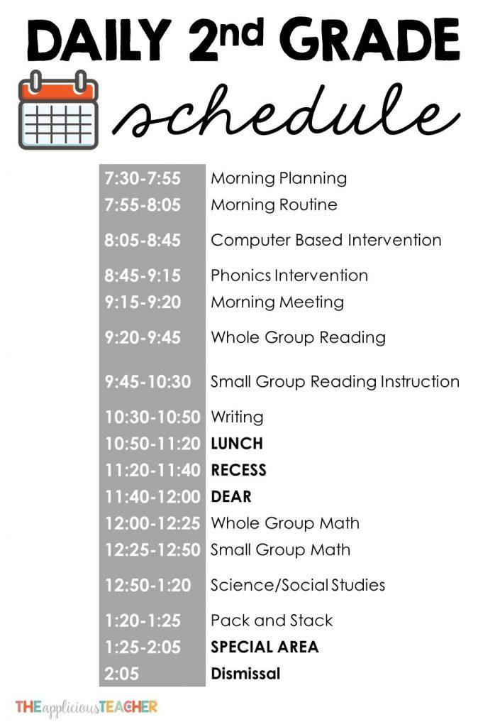 peek at my second grade daily schedule. TheAppliciousTeacher.com #backtoschool #2ndgrade #classscheduel