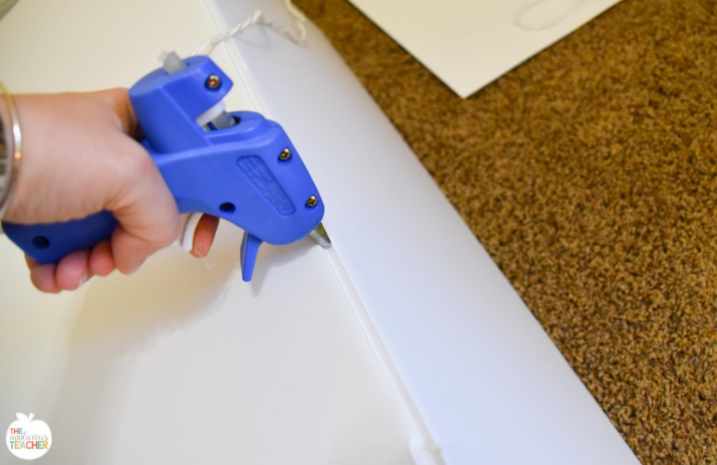 Step 1- glue the flaps of the foam board straight