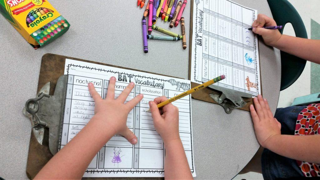bat vocabulary routine recording sheet