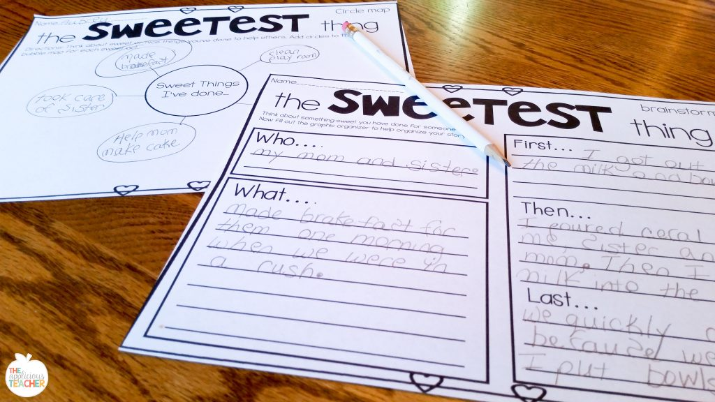 Valentine's Day writing activity- brainstorming sheet