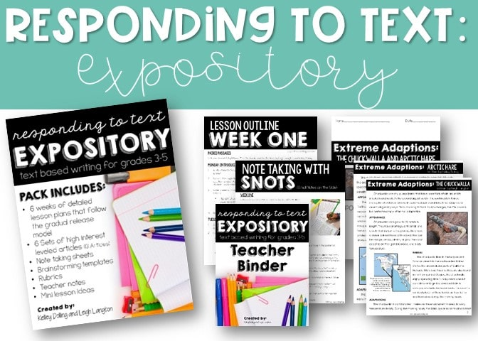Responding to Text Expository Writing activities