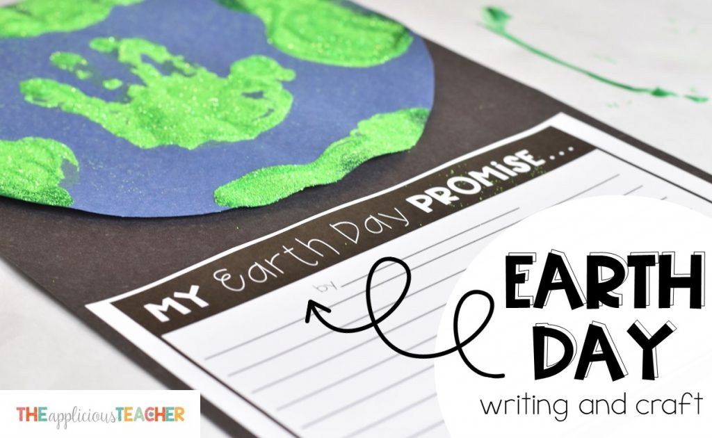 Earth day wriitng and craft freebie. Cute craft of painted earth with hand print for Earth Day