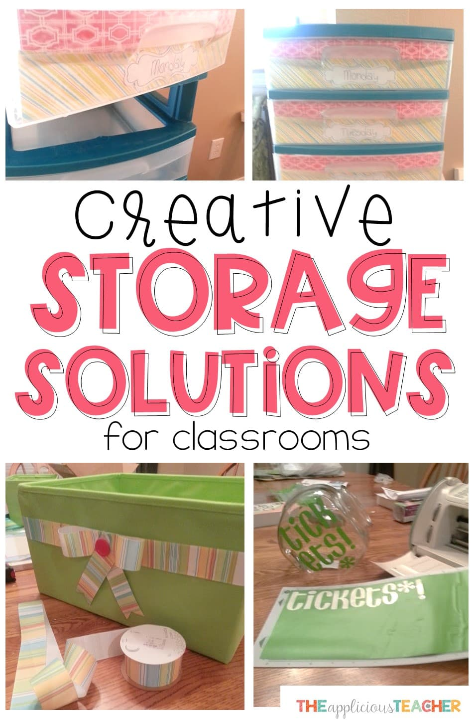 these creative storage solutions are perfect for classroom who lack built in storage! Includes step by step instructions on how to make them work in any classroom!