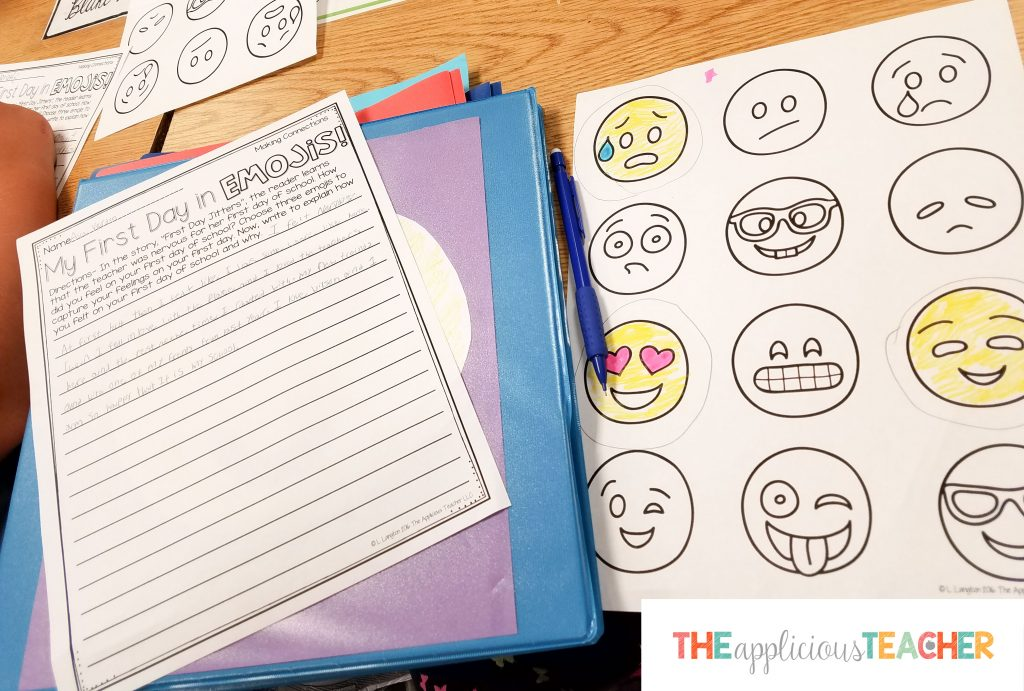 My first day in emojis writing activity for back to school