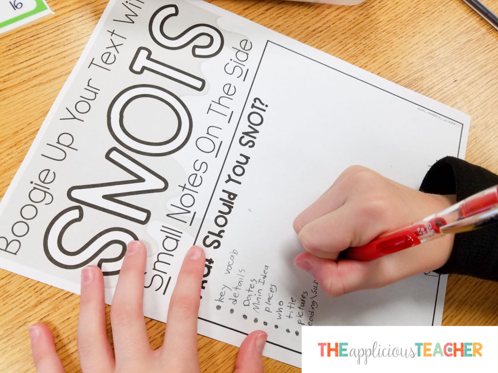 Personal SNOTS poster so students can reference what can be snotted while they are reading