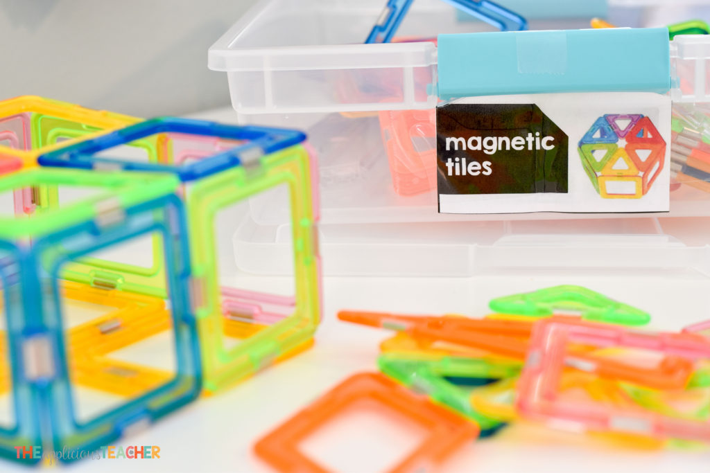 Classroom STEM Lab materials- magnetic tiles TheAppliciousTeacher.com