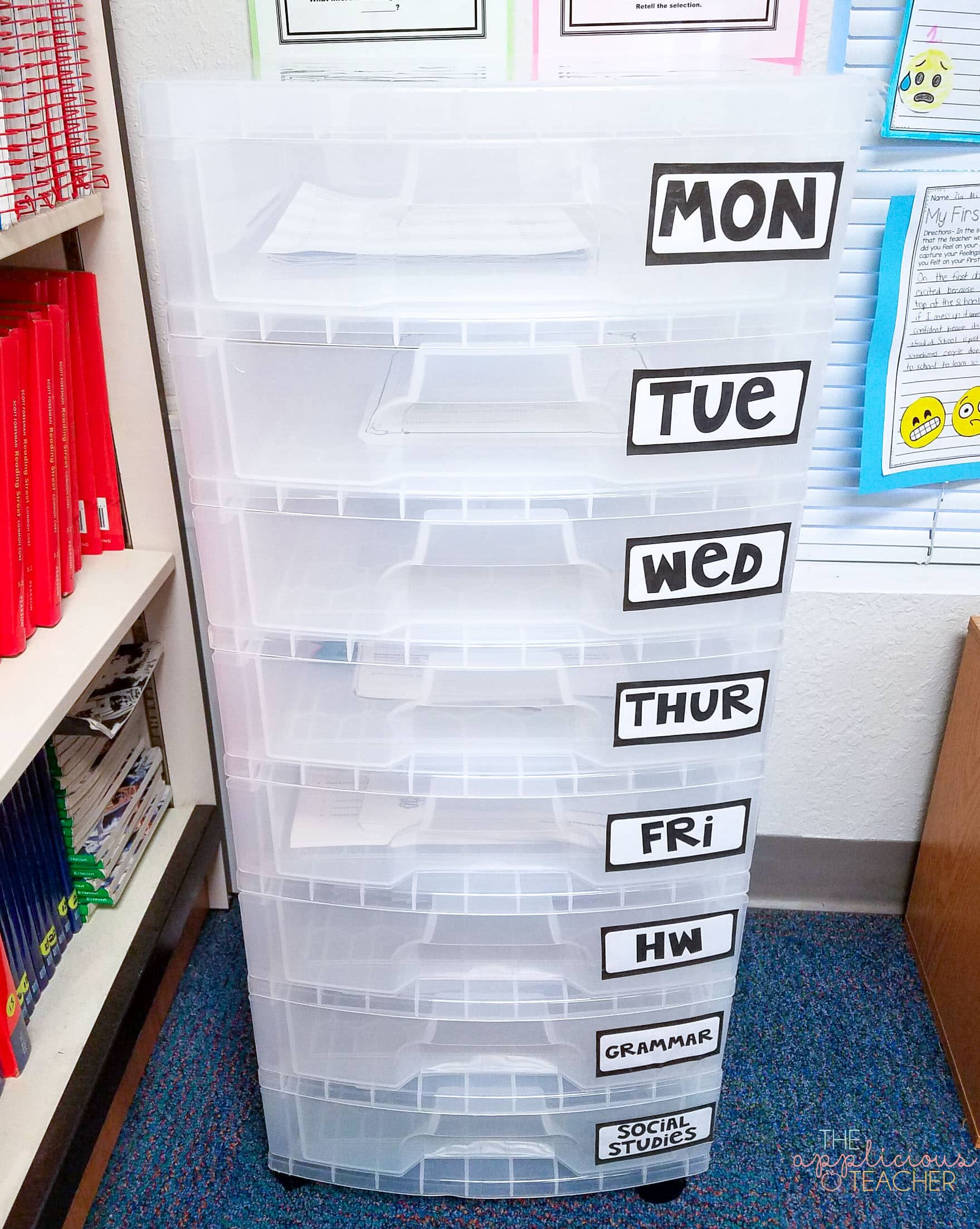 Weekly storage drawers help keep your materials for the week organized and ready when you are