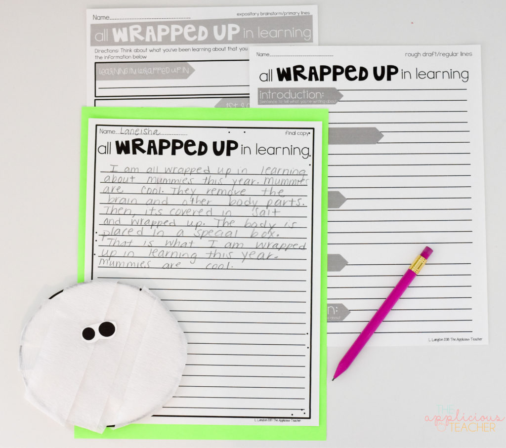 Mummy writing activity for 2nd grade