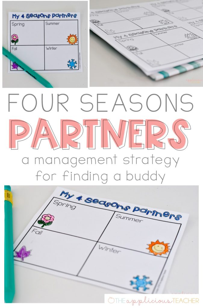 Four Seasons Partners- What a great and easy way to help students find a buddy without all the drama! TheAppliciousTeacher.com