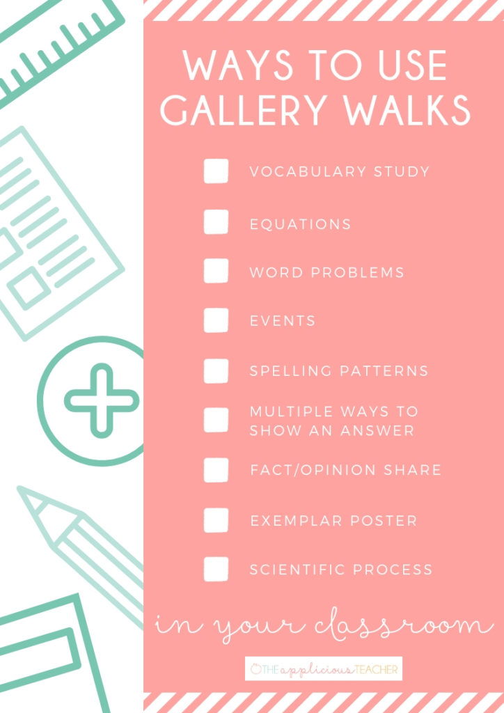 Different ideas for using gallery walks in your classroom! TheAppliciousTeacher.com #teachingstrategies #vocabularybuilders #2ndgrade #3rdgrade