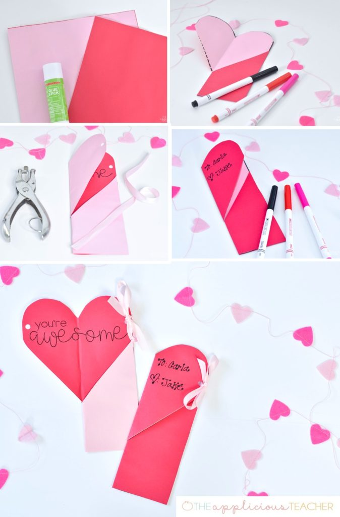 Easy Valentines Day Craft- hidden heart bookmarks- love this idea- so simple, but meaningful valentines day craft! TheAppliciousTeacher.com
