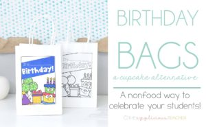 Birthday Bags: nonfood alternative to cupcakes in the classroom