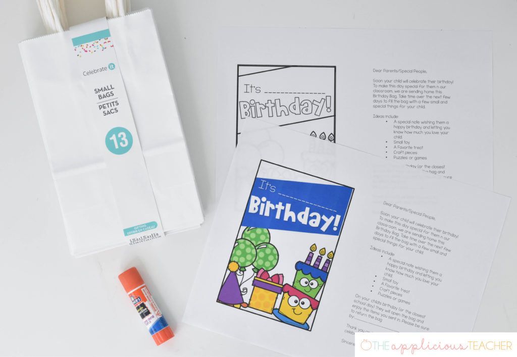 setting up classroom birthday bags