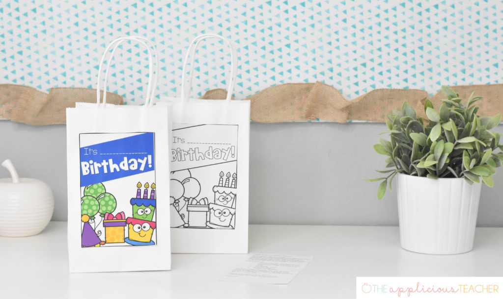birthday bags- an alternative to cupcakes in the classroom