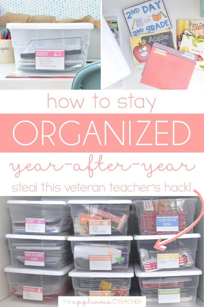 classroom organization hack- teaching bins