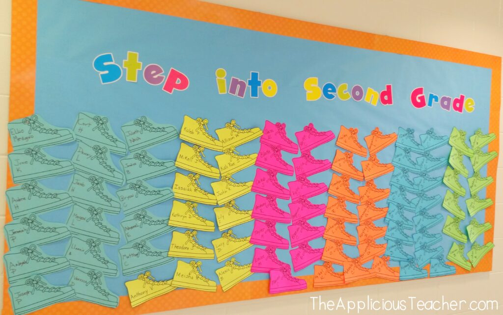 Step into 2nd Grade Bulletin Board