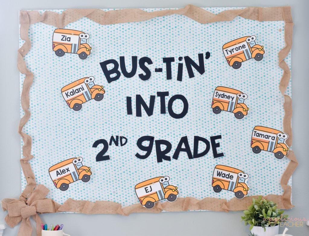 back to school bulletin board: bustin into 2nd grade