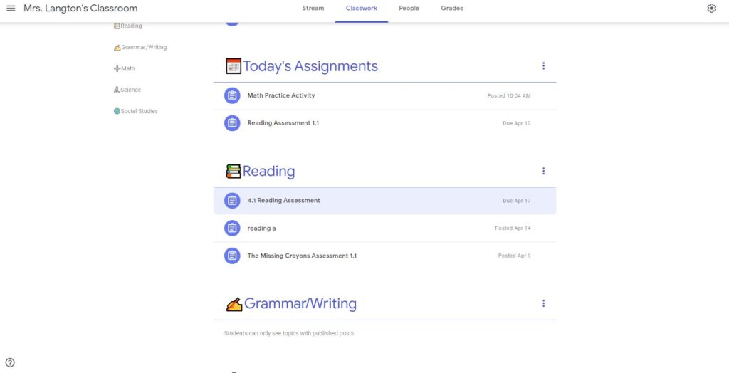 Google Classroom 2nd grade