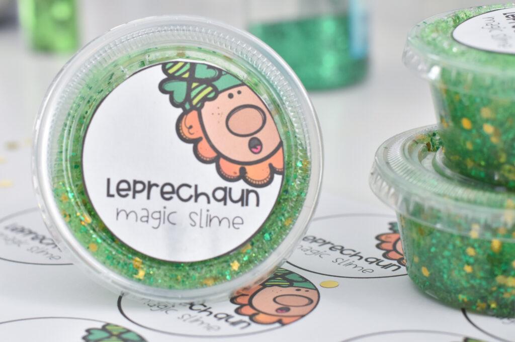 leprechaun glitter slime label